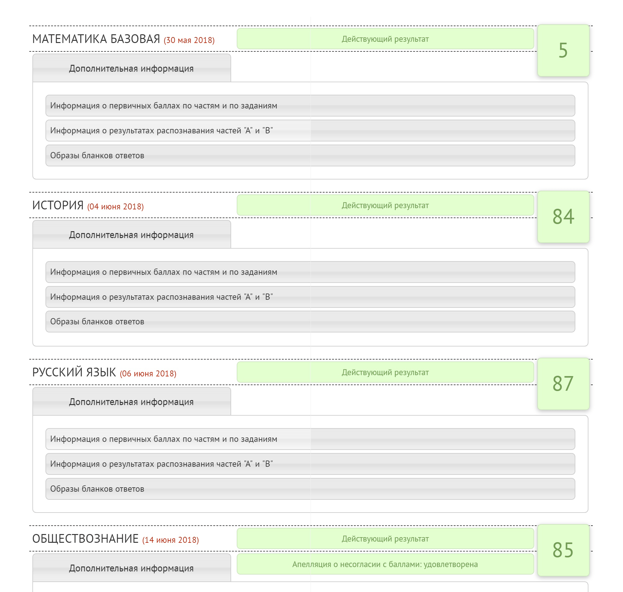 Мои результаты ЕГЭ после апелляции на сайте ege.spb.ru. В закладках — сканы экзаменационных бланков, компьютерные результаты распознавания и оценки каждой части экзамена