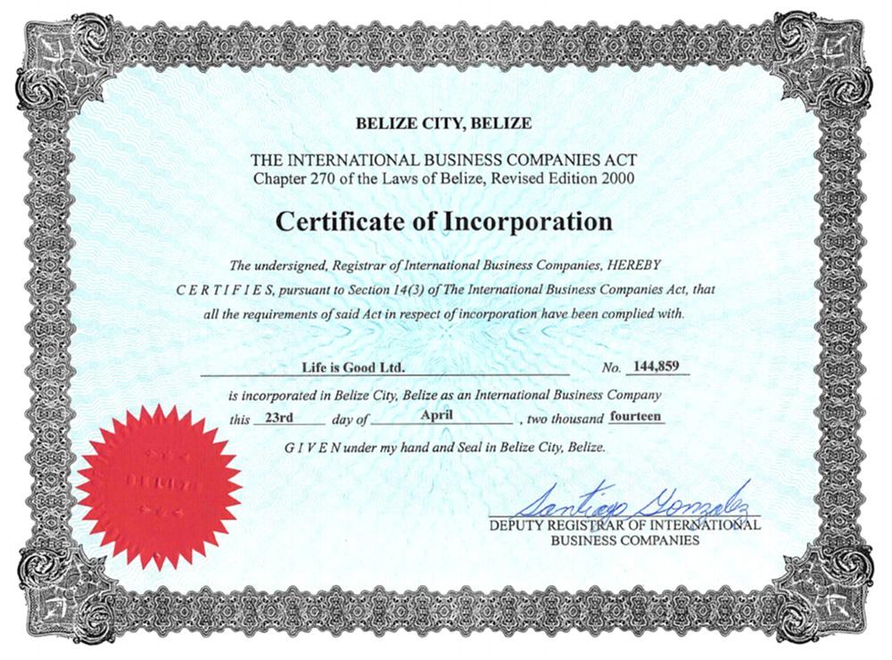 Компания Life is GoodLtd. зарегистрирована в Белизе 23 апреля 2014года