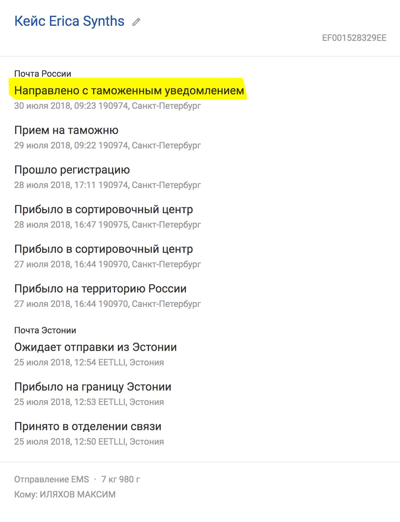 Плохо дело: по треку видно, что таможня в Петербурге направила мою посылку в Москву с уведомлением. На днях мне упадет письмо...