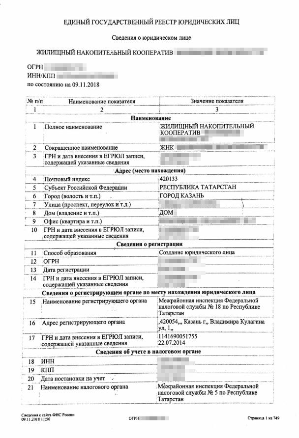 По ОГРН узнала, когда создан кооператив, по какому адресу зарегистрирован, фамилию директора