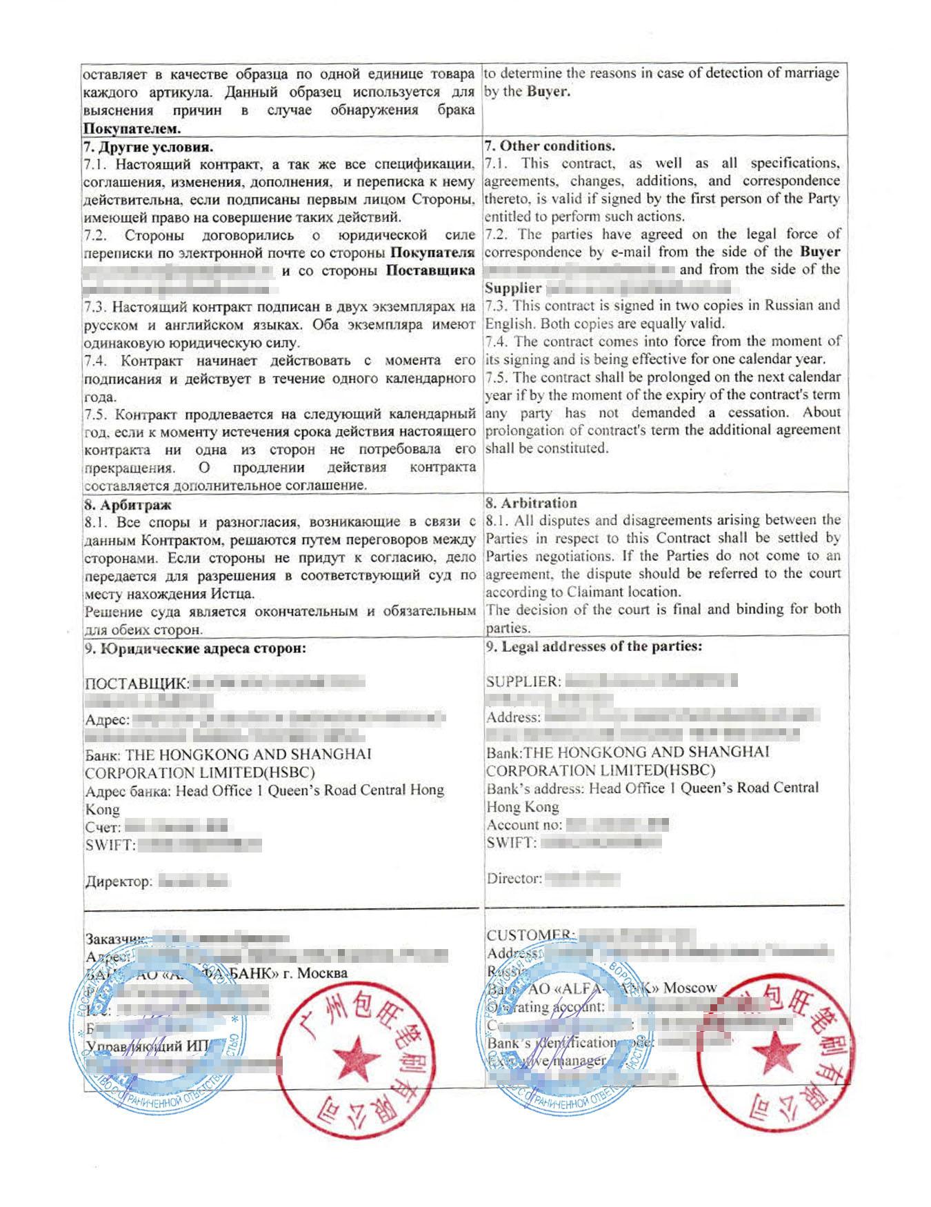 Внешнеторговой контракт по формулировкам похож на внутрироссийский договор поставки. Еслибы не печати с иероглифами и не текст на английском, то можно былобы перепутать