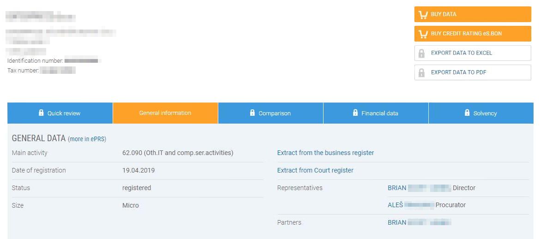 Карточка организации на сайте словенского государственного реестра компаний AJPES. Основная информация о компаниях находится в открытом доступе, нужно только зарегистрироваться на сайте