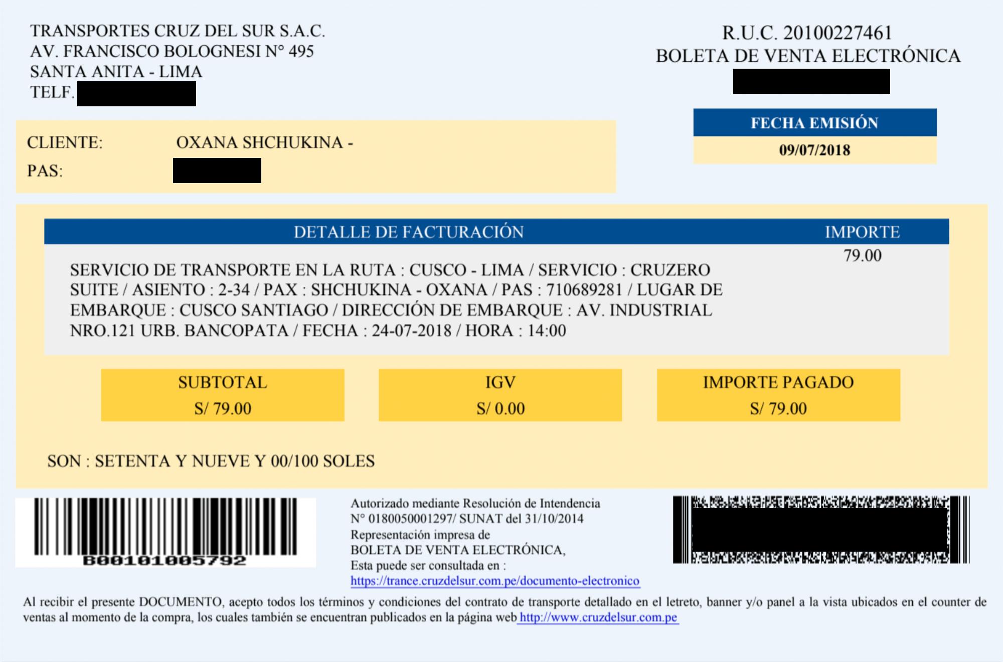 Билет обошелся мне в 79 солей (1580 р.). В нем указаны маршрут, место и время отправления. Поездка заняла 21 час. При посадке требовался оригинал паспорта