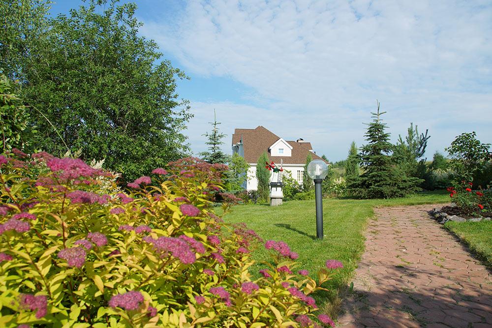 Дорожки вымощены брусчаткой, ландшафтный дизайн хорошо смотрится и зимой и летом, так как на участке много хвойных растений. Вдалеке — дом соседей