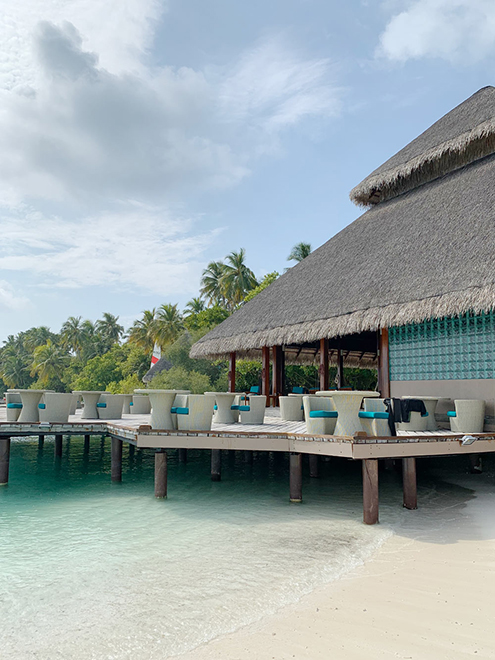 Бар у пляжной зоны с коктейлями и едой