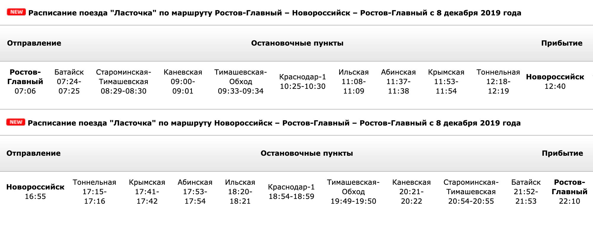 Из Ростова до Краснодара «Ласточка» довезет за 3 часа, а до Новороссийска за 5 часов