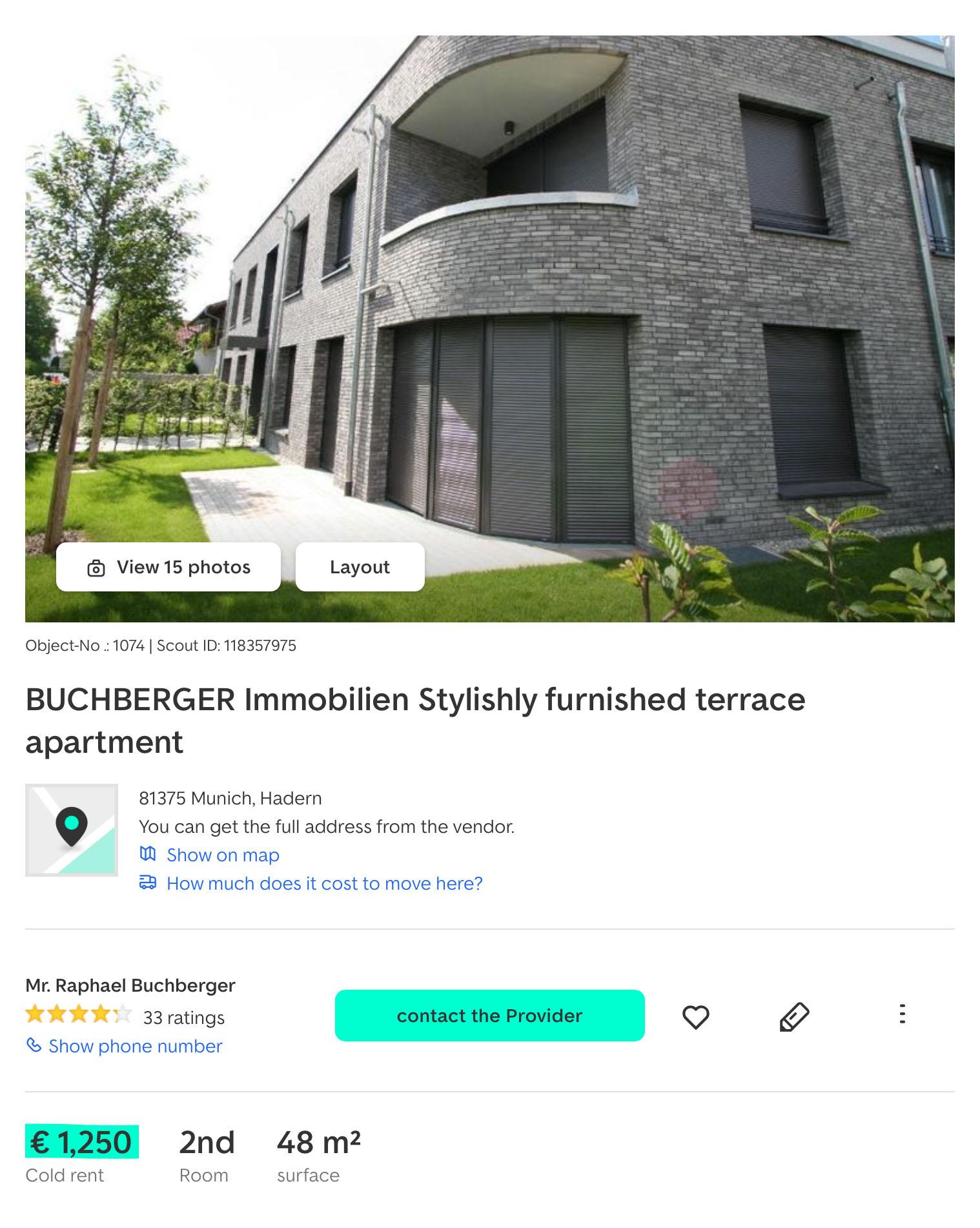 Симпатичная квартира в центре за 1250€ по карману не каждому студенту. С коммунальными услугами окончательная стоимость будет минимум на 200€ дороже