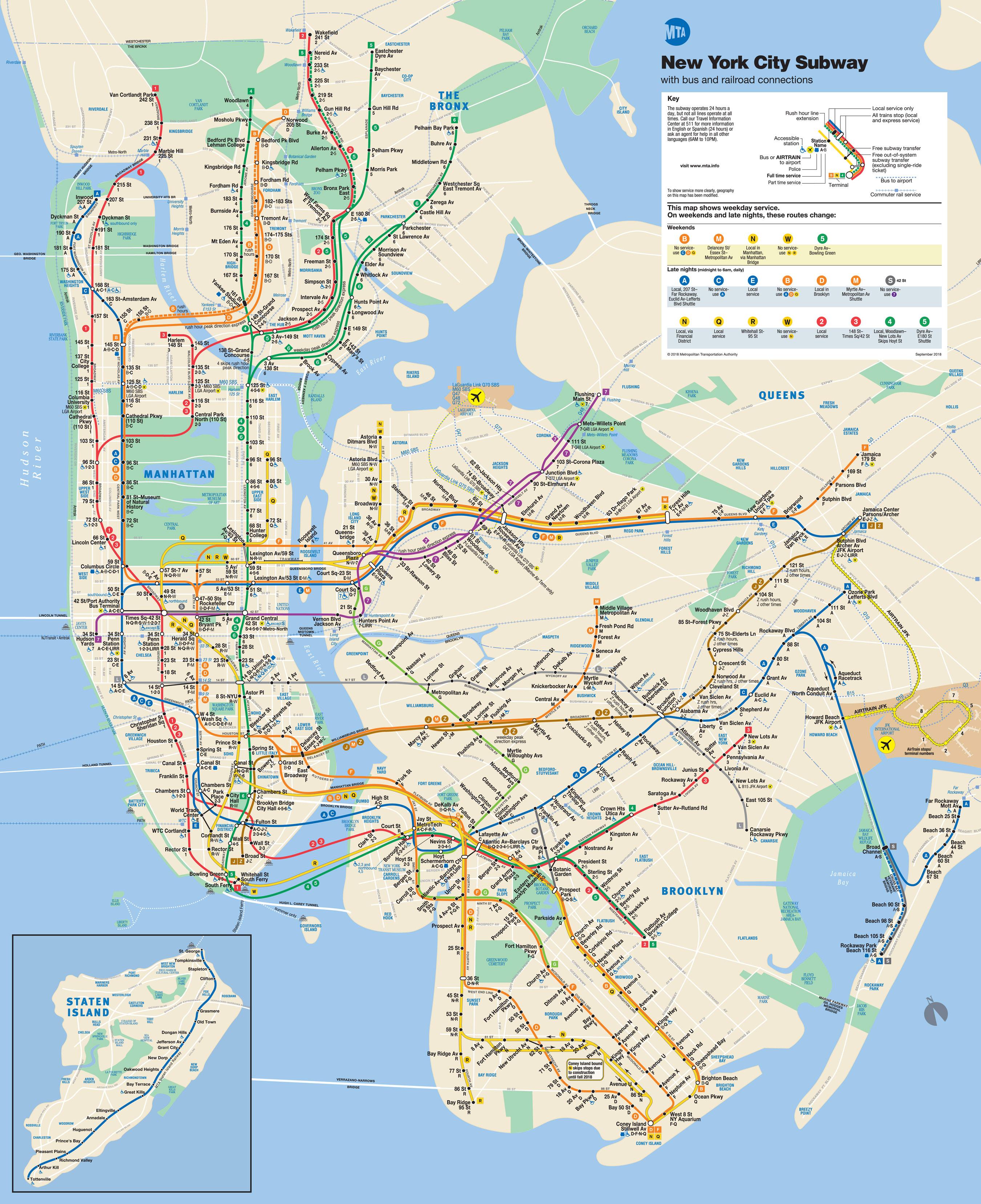 Метро — самый быстрый способ передвижения по Нью-Йорку