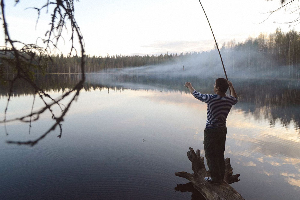 Рыбалка на палку в Карелии на реке Семче