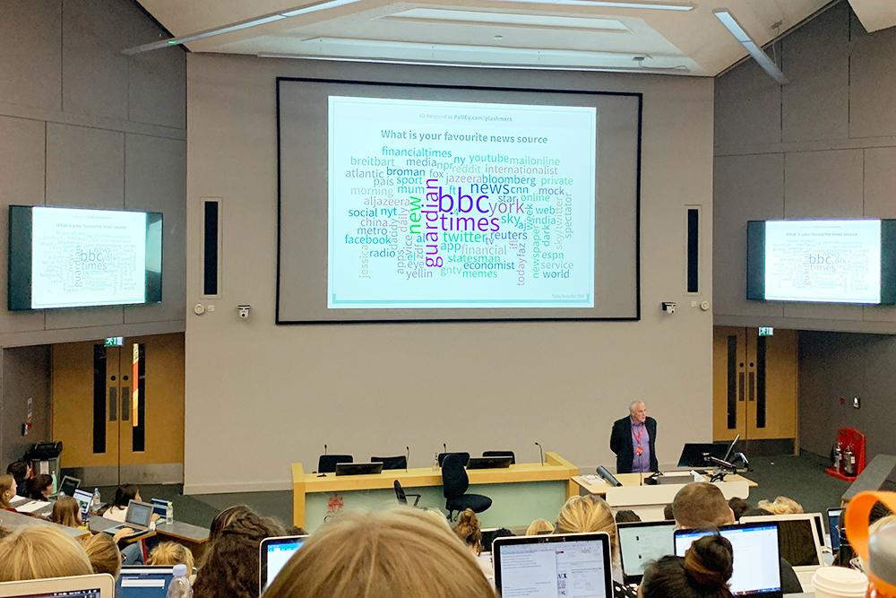 Профессор по этике каждую лекцию просит нас выражать свое мнение голосованием через приложение Poll Everywhere. На экране — результаты опроса на тему «любимый источник новостей»