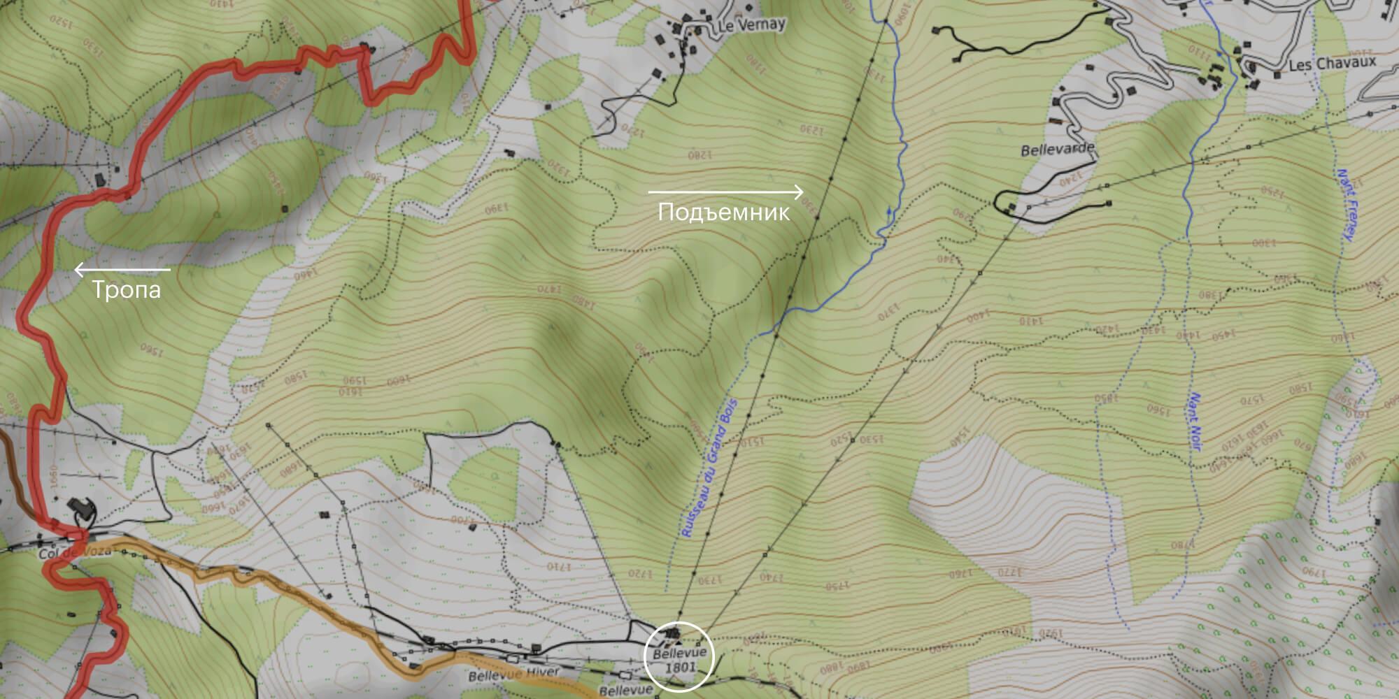 Способы добраться к маршруту из Les Houches на подъемнике или пешком