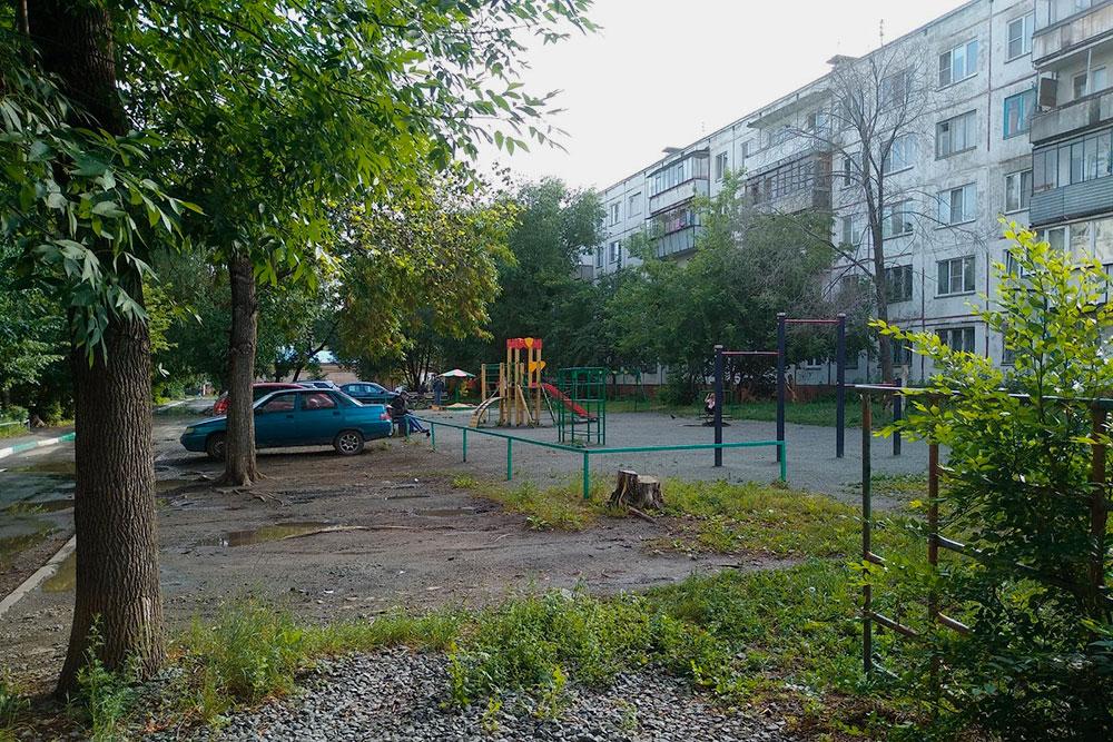Новая детская площадка в моем старом дворе. На переднем плане справа — заросшая кустом старая «лазалка», на которой я выбивал ковры, когда жил в этом доме