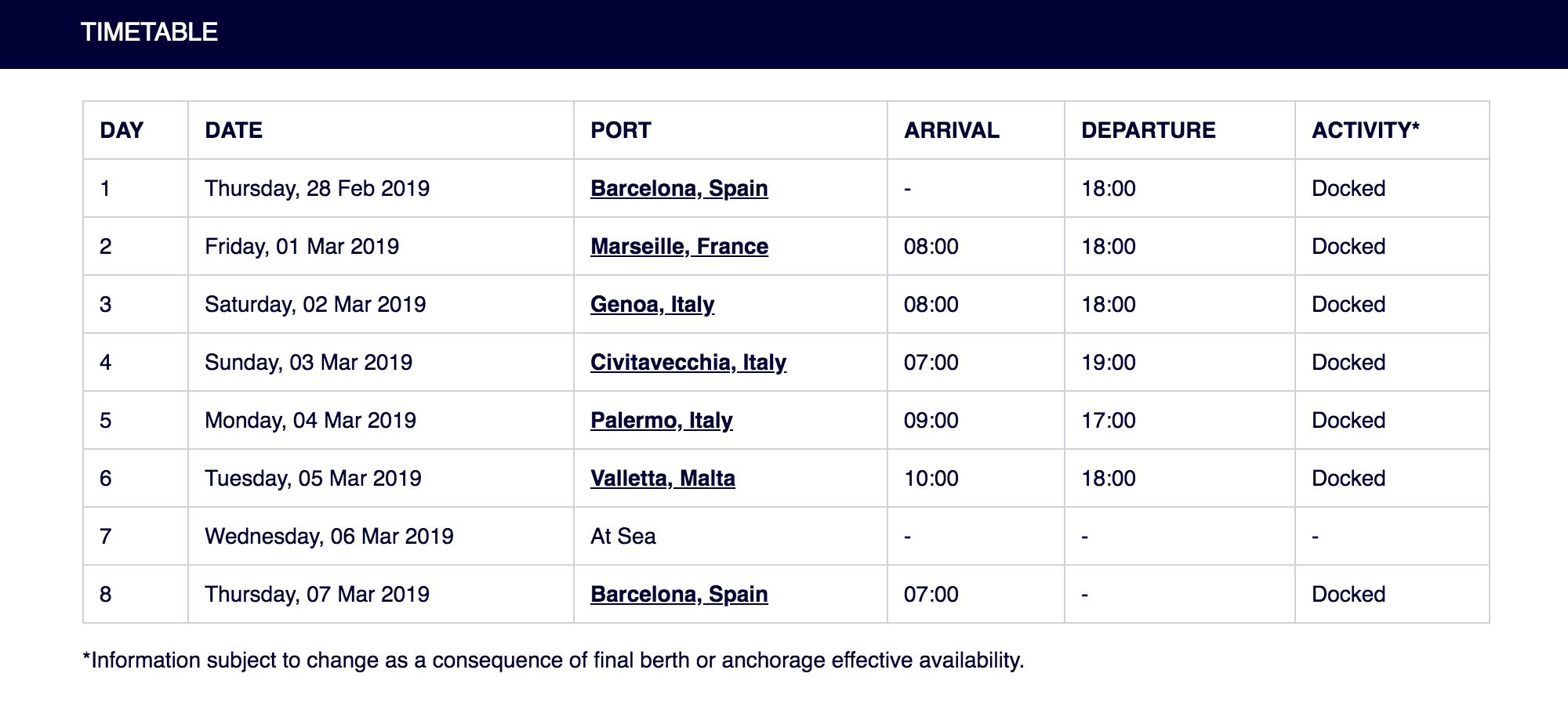 Расписание стоянок в стандартном круизе по Средиземному морю. За 8 часов стоянки можно обойти полгорода