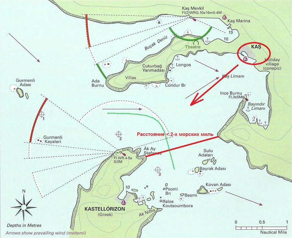 Карта порта Кас и греческого острова Кастелоризо. Зеленая линия указывает примерное место, где проходит граница между Турцией и Грецией