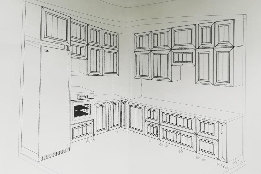 Этот проект кухни за 420 000<span class=ruble>Р</span> нам нарисовали в «Марии». Столешница была из кварцевого агломерата, а фасады — из МДФ с эмалью. Потом мы перенесли плиту подальше от холодильника