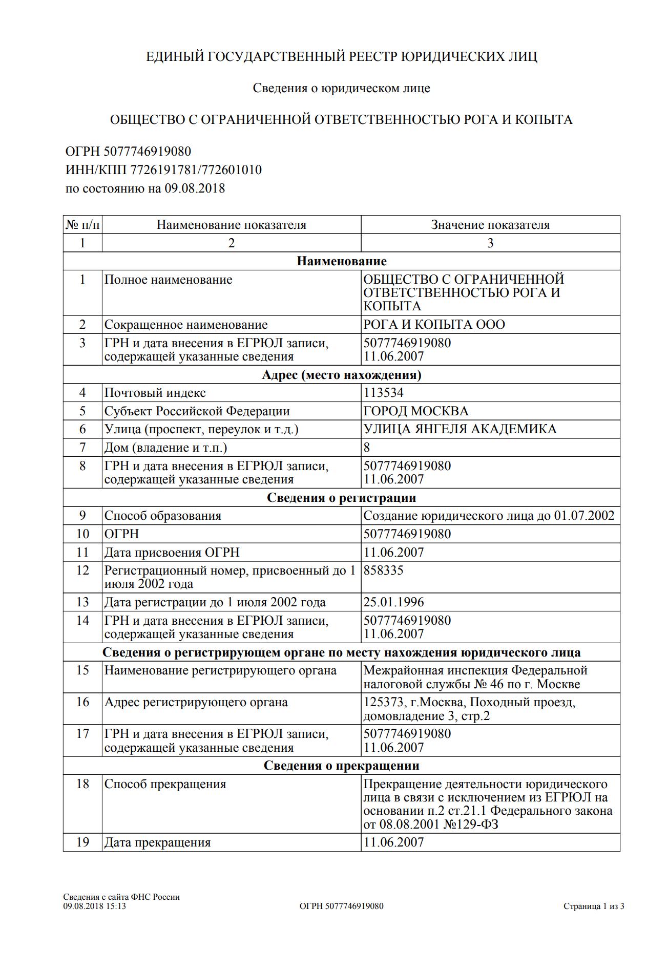 Выписка из ЕГРЮЛ в виде распечатки с сайта налоговой