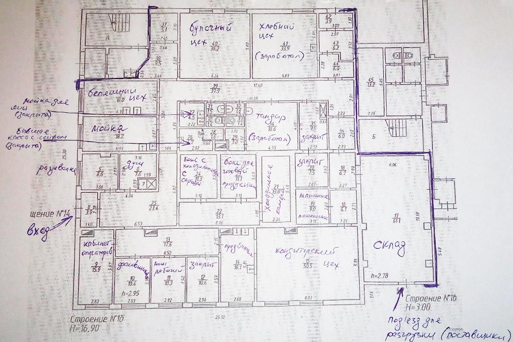 Кадастровый план арендованного производства на 558,7 м². Работала только часть цехов, другие были закрыты — там была свалена старая техника