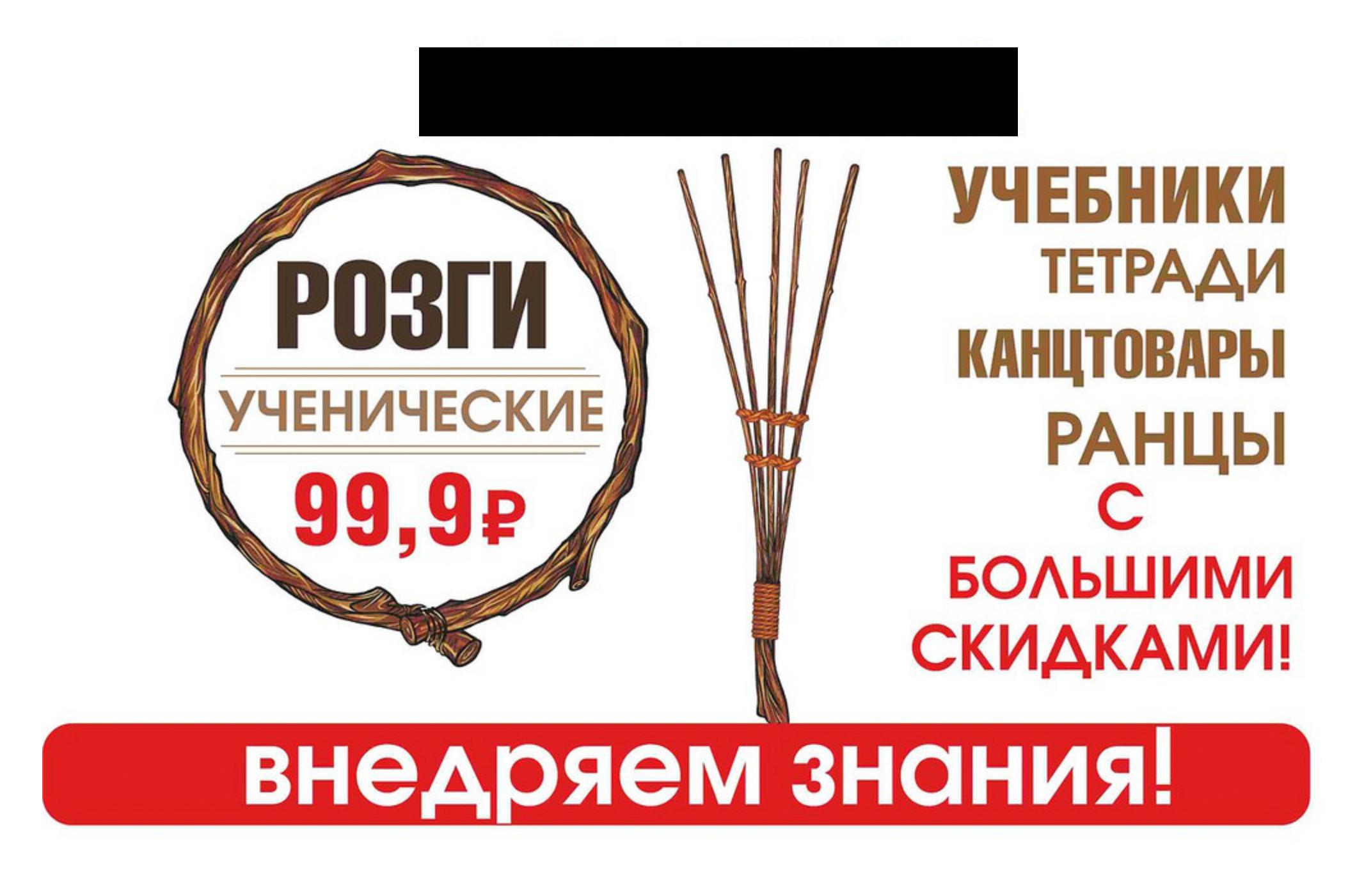 Книжный магазин предлагал внедрять знания розгами. Фото: novayasamara.ru