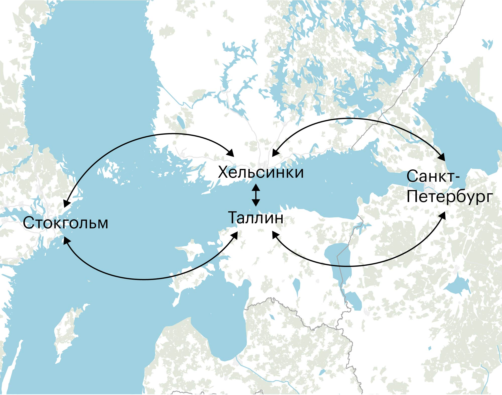 Прямые маршруты паромов на Балтийском море. Схема движения парома из Петербурга в Стокгольм — на следующей карте