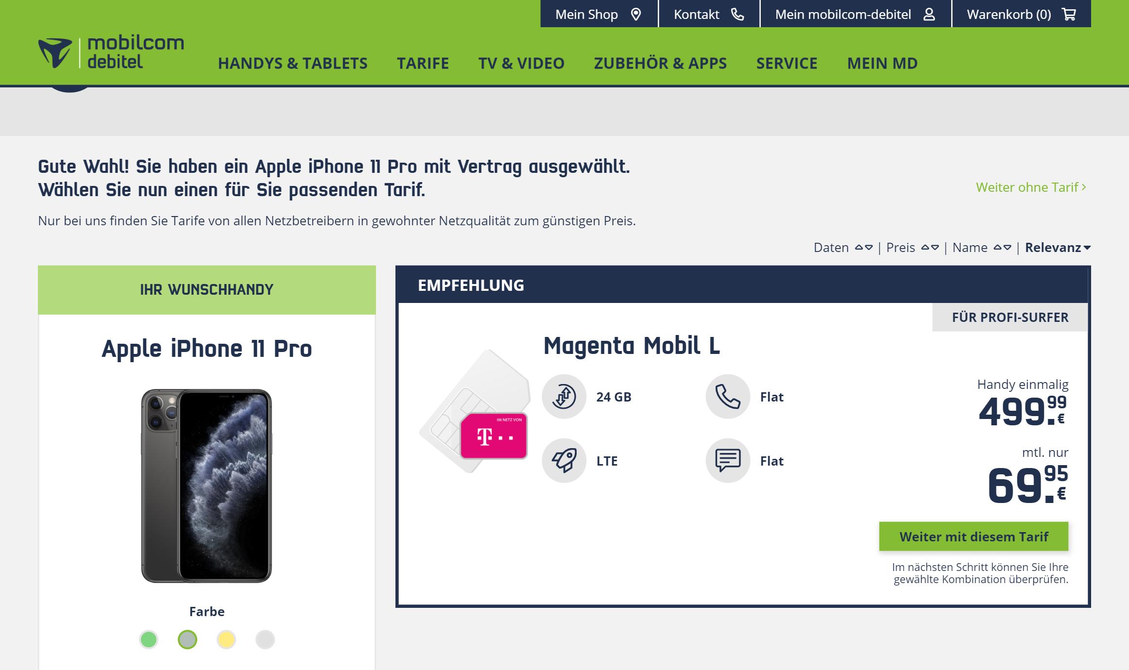 Типичное предложение: Айфон 11 Про на 256 Гб за 500€ (35 000<span class=ruble>Р</span>) + тариф с 24 Гб интернета на 2 года с ежемесячными выплатами по 70€ (5000<span class=ruble>Р</span>)
