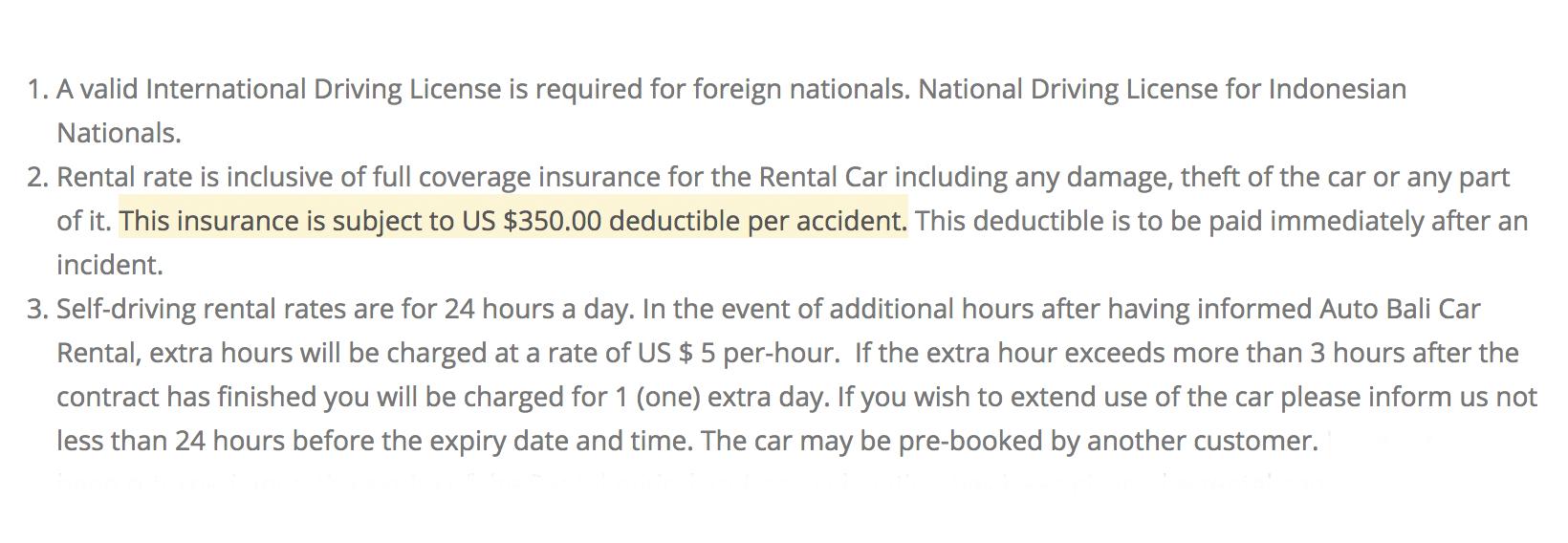 Машина застрахована, но в случае аварии требуют заплатить 350$ (23 000 р.)
