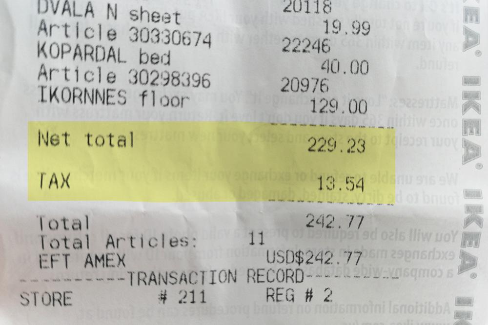 На покупку в «Икее» на 229,23&nbsp;$&nbsp;(16 046<span class=ruble>Р</span>) нам начислили налог в 13,54&nbsp;$&nbsp;(947,8<span class=ruble>Р</span>)