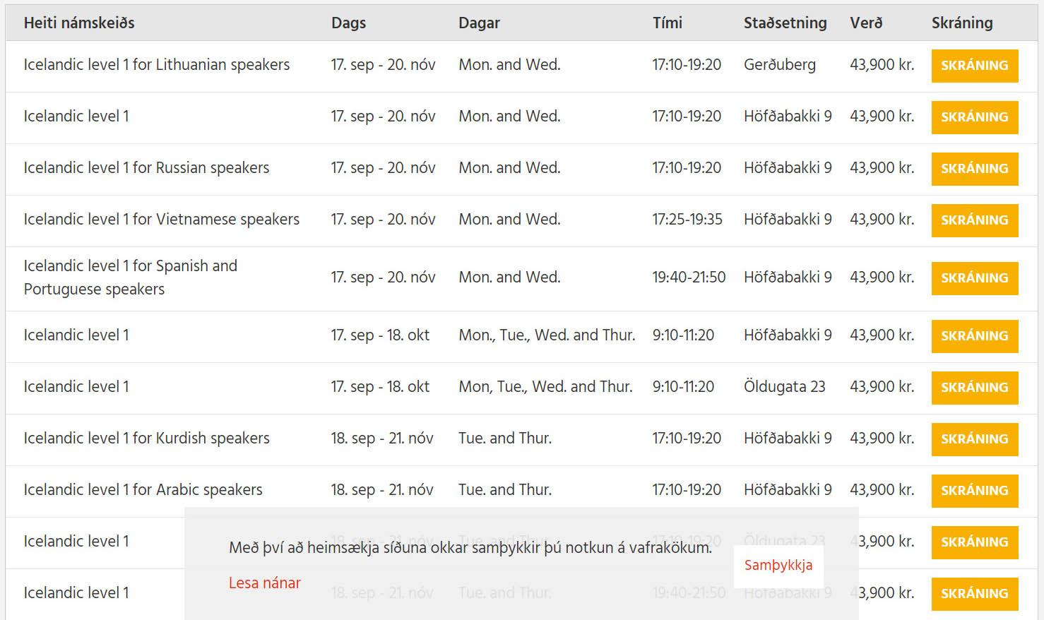 Список курсов исландского в языковой школе «Мимир»