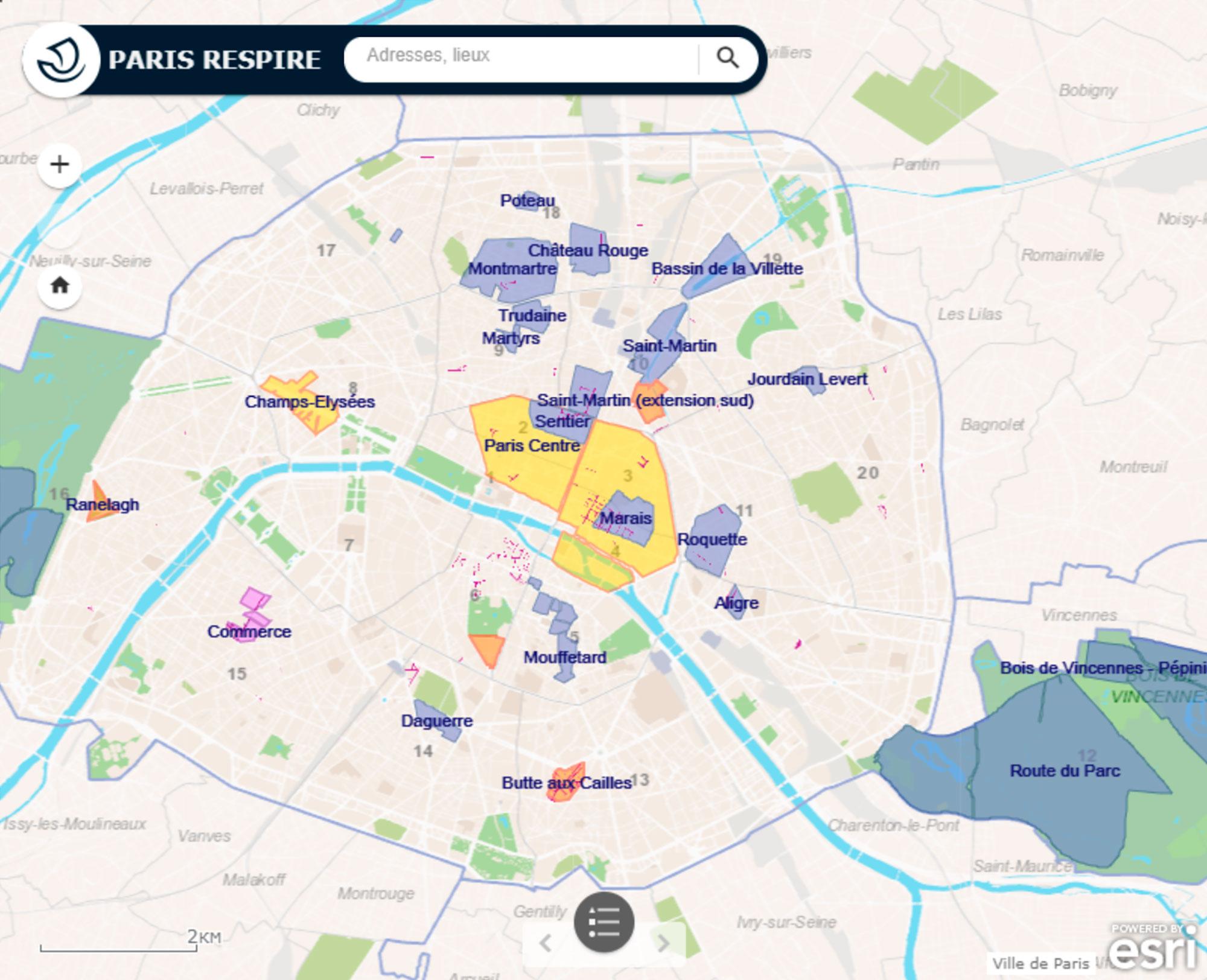 Фиолетовым отмечены зоны, полностью закрытые для движения транспорта, красным — зоны, закрытые только на лето, а желтым — зоны, где движение перекрывается каждое первое воскресенье каждого месяца