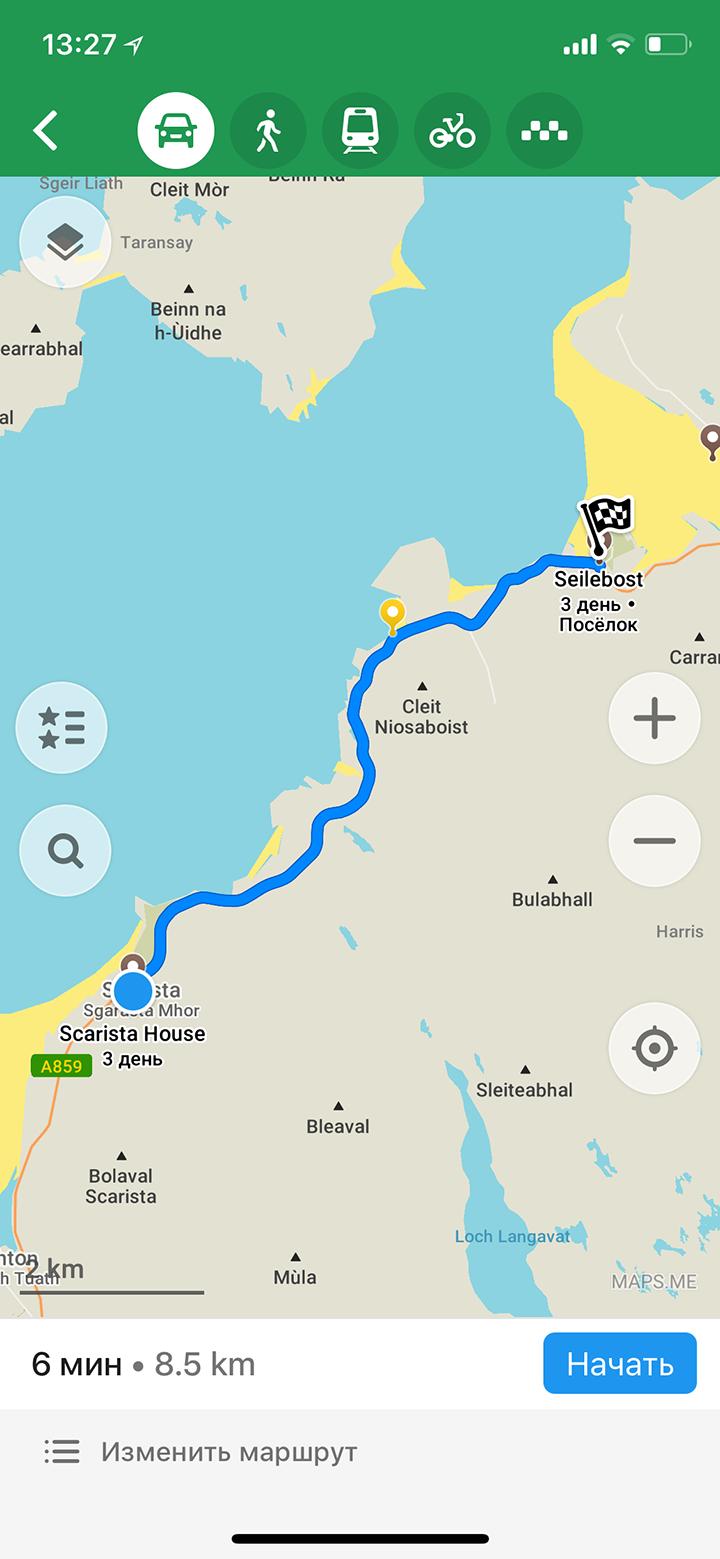 Приложение строило автомобильные маршруты без использования сотовой сети