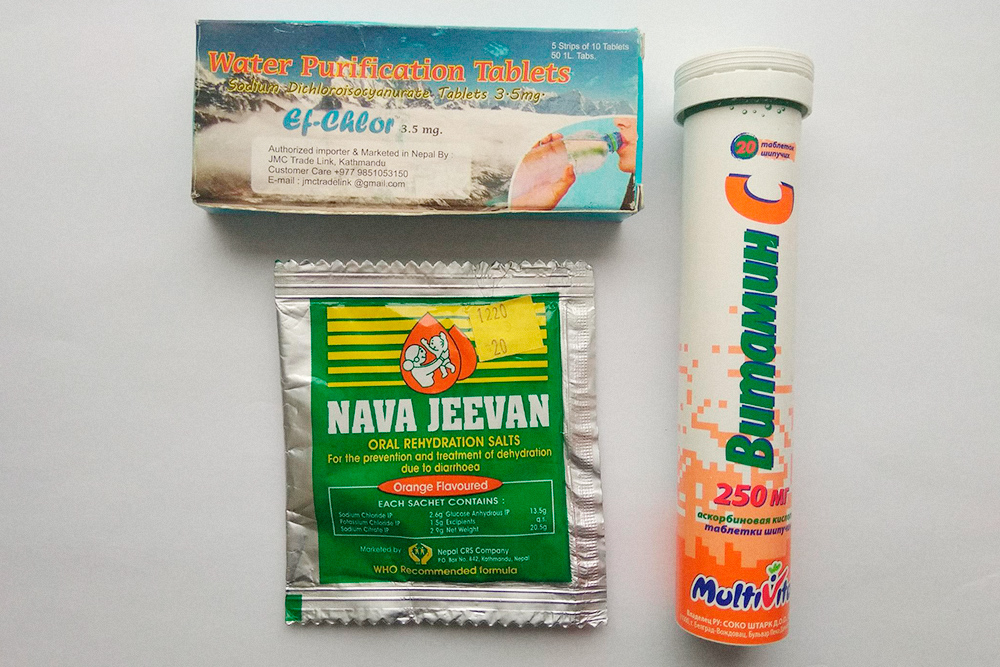 Мой набор для очищения воды: специальные таблетки Water Purification Tablets, простейший изотоник и витамины для вкуса