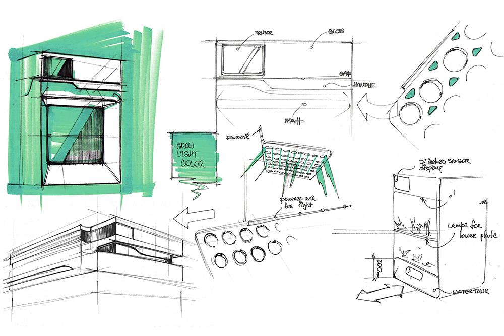 Green Bar был сложной задачей. Надо было в пространстве размером со среднюю посудомойку разместить десятки растений, которые требуют разной температуры и влажности, плюс найти возможность снизить энергопотребление