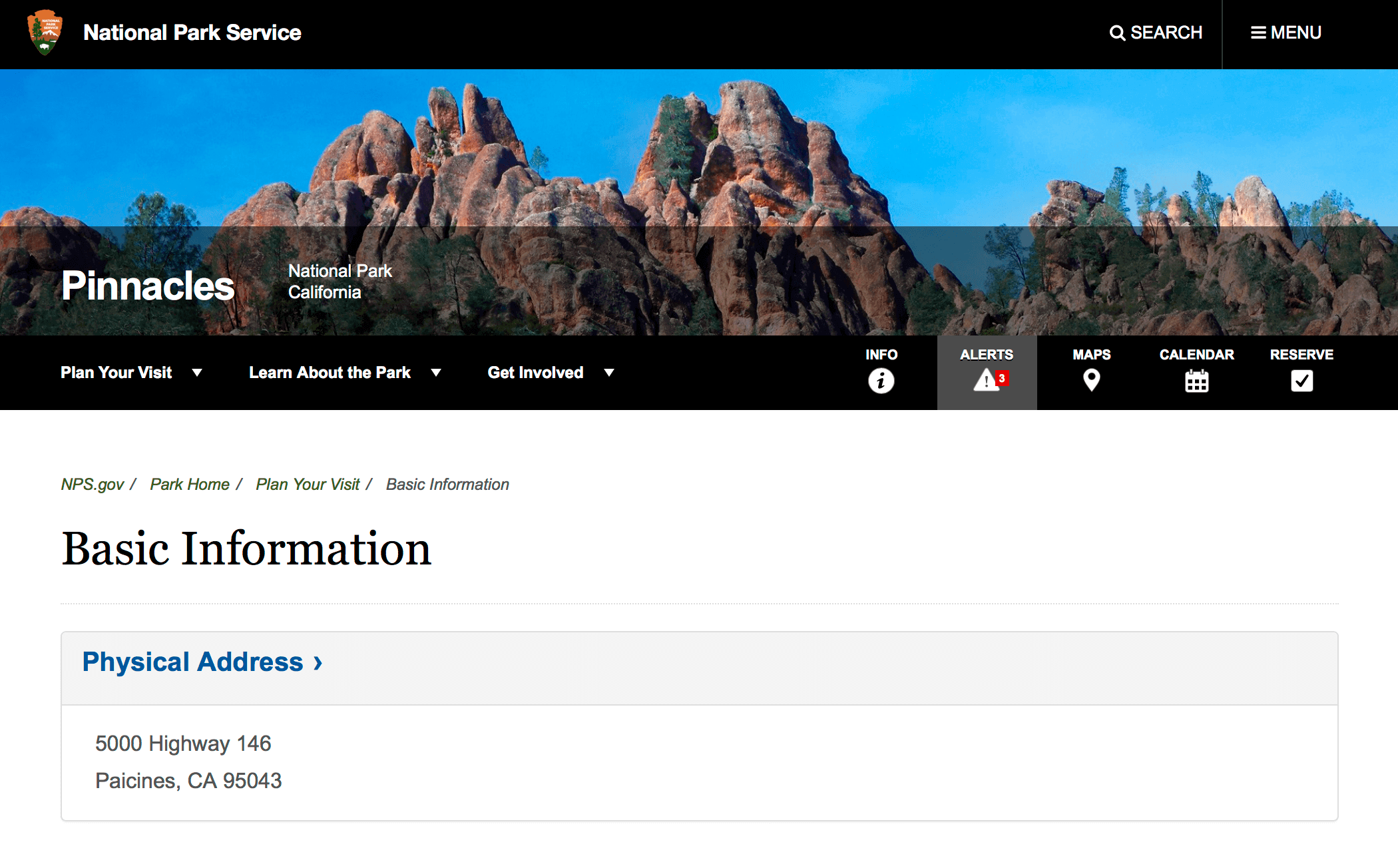 Страница национального парка Пинаклс, который находится недалеко от Салинаса
