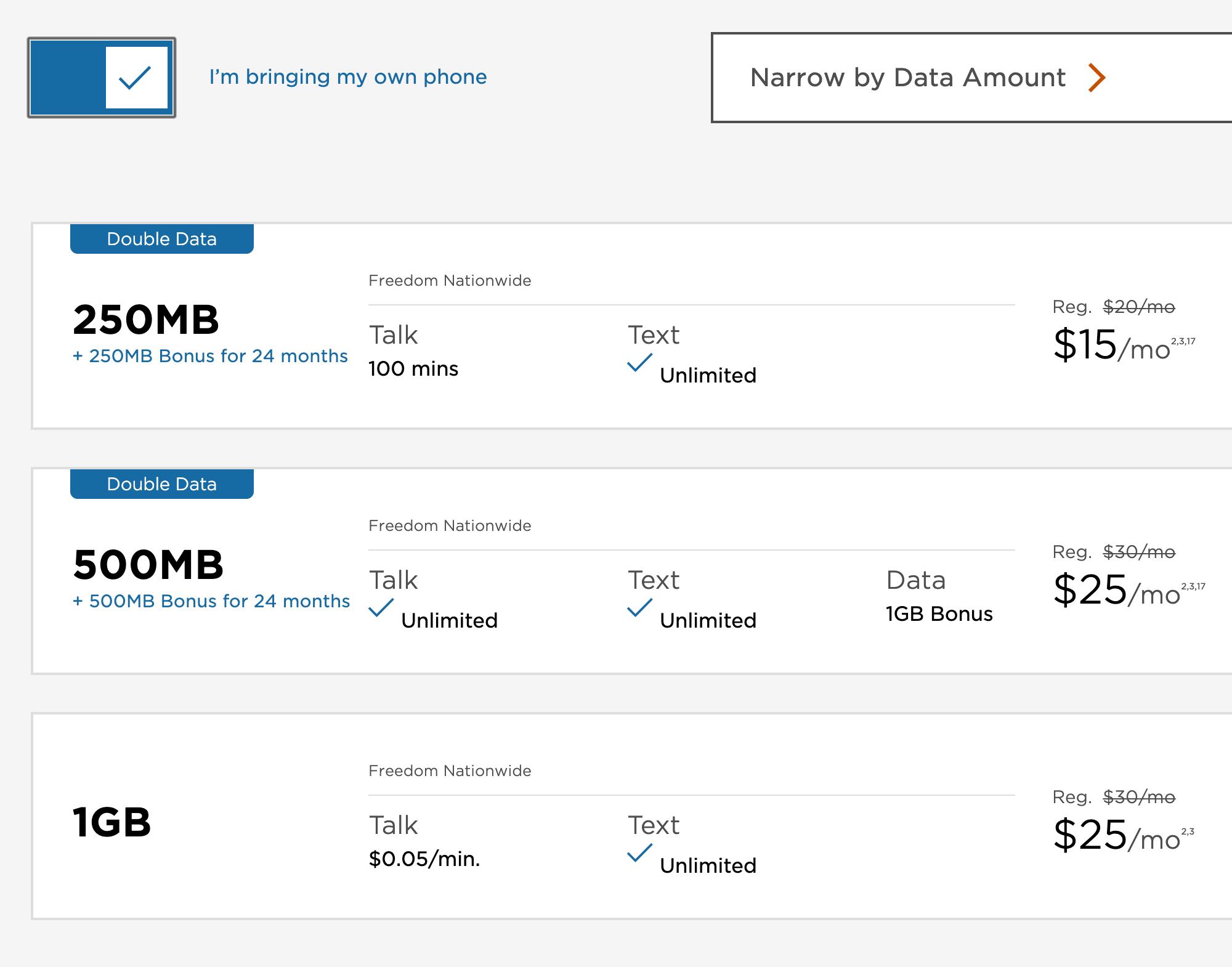 Стоимость мобильной связи зависит от объема трафика. Это тарифы оператора Freedom Mobile