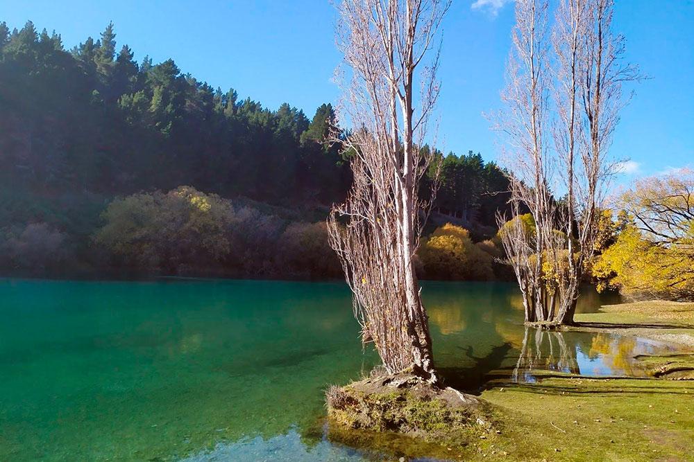 Берег озера, вдоль которого проходит трасса