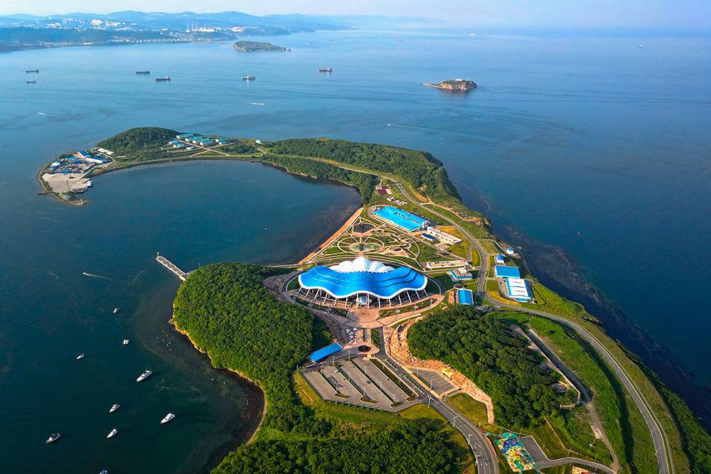 Океанариум находится на Русском острове, на мысе Житкова. Через пролив видна материковая часть Владивостока. Фото: Shutterstock