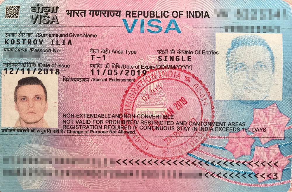 Моя туристическая виза с однократным въездом в Индию