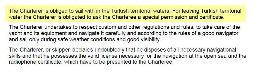 Условия о территории плавания и пересечении границы государства указаны в первом абзаце. Чтобы пересечь границу, нужно попросить у арендодателя документы