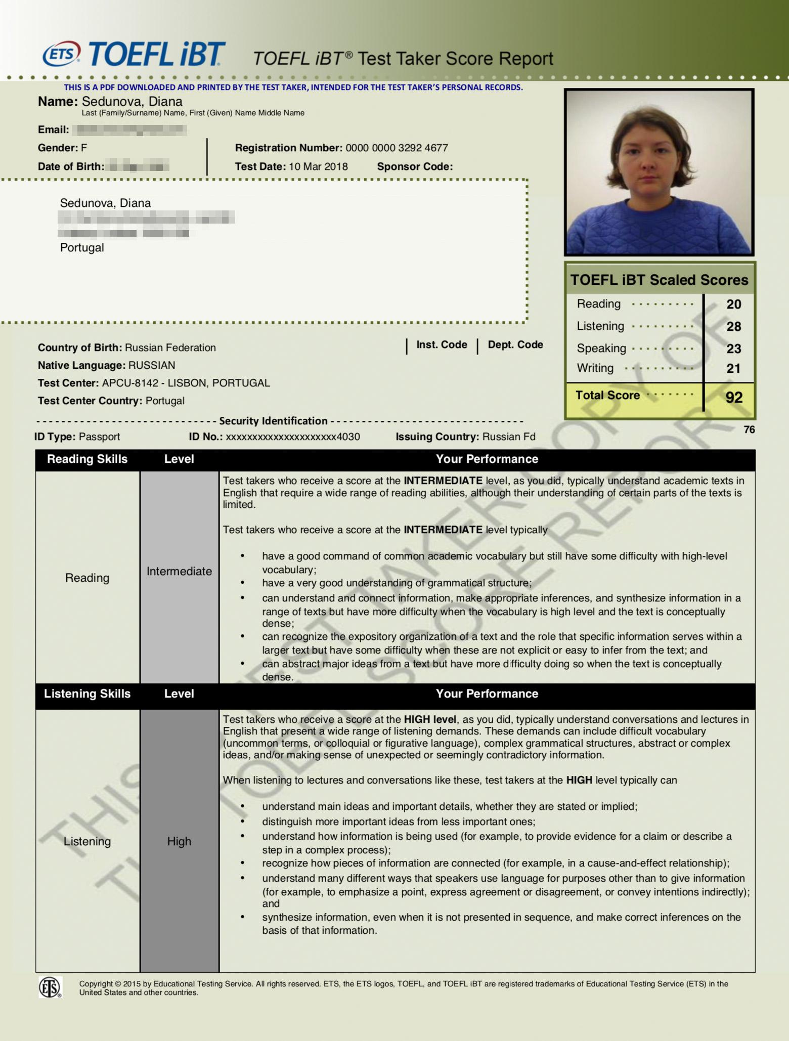 Результаты моего теста TOEFL