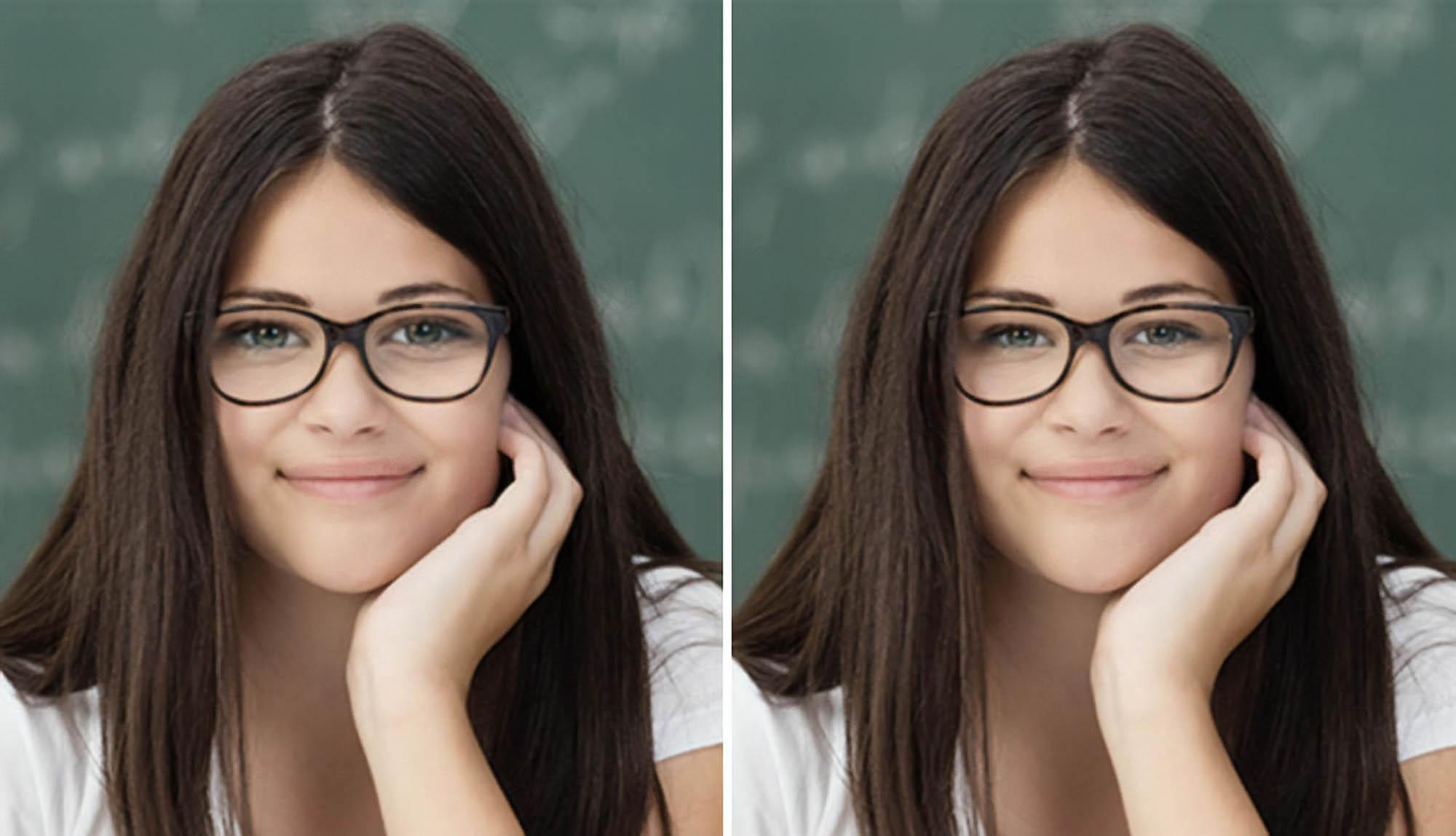 Сферические линзы с высокими диоптриями (слева) визуально изменяют размер глаз. Асферические линзы (справа) устраняют этот эффект. Источник: allaboutvision.com