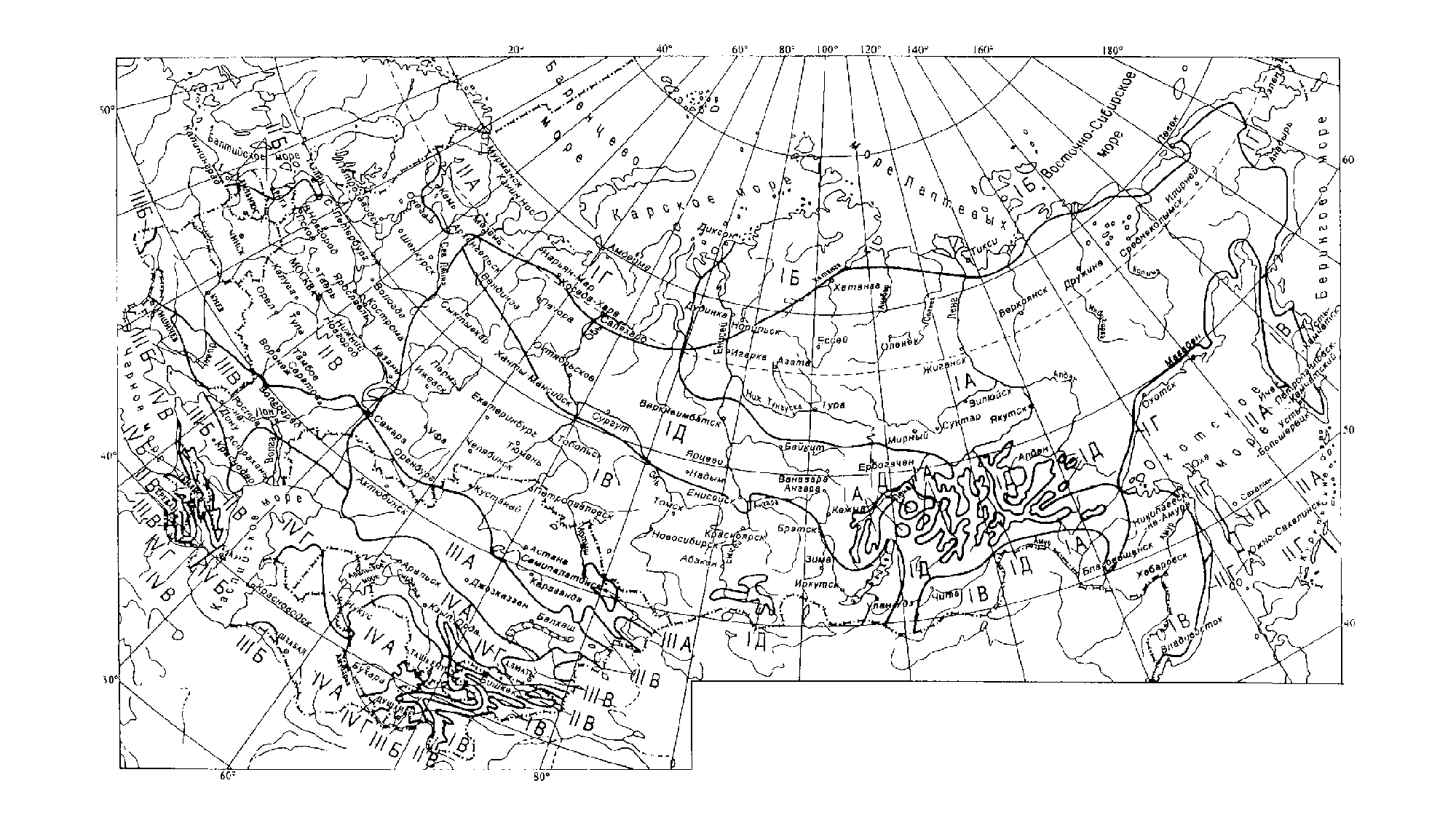 Схематическая карта климатического районирования, рекомендуемая для строительства в СНиП 23-01-99. Попробуйте найти здесь свой регион или свериться с таблицей