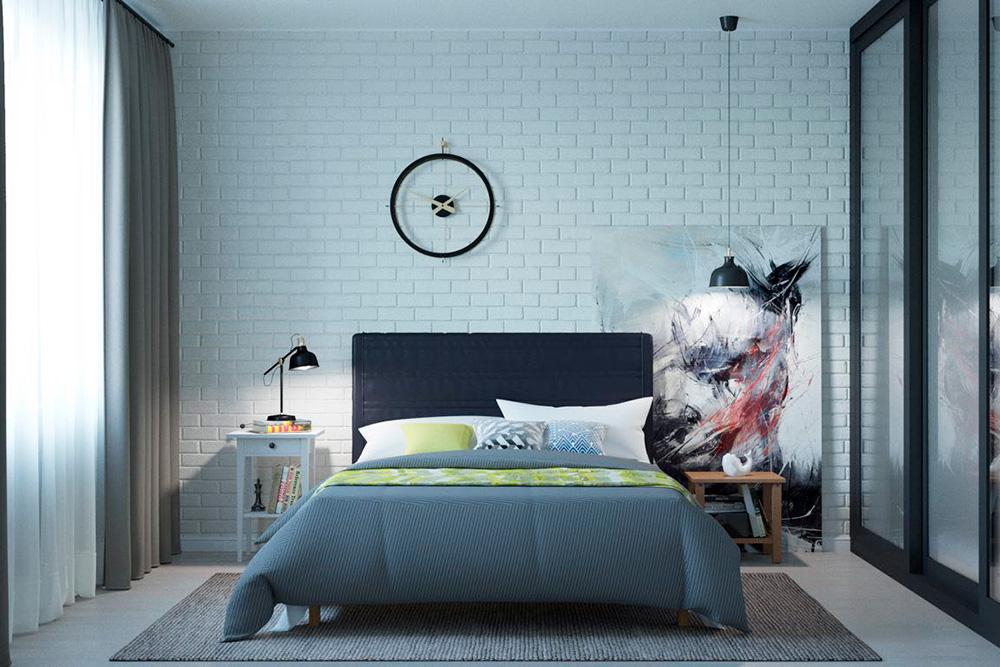 Лофт нежный: облегченный вариант с белой кирпичной стеной и в светлых тонах