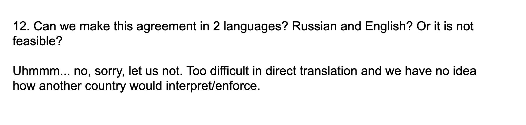 Адвокат отговорил подписывать договор на русском и английском языках из-за сложности перевода