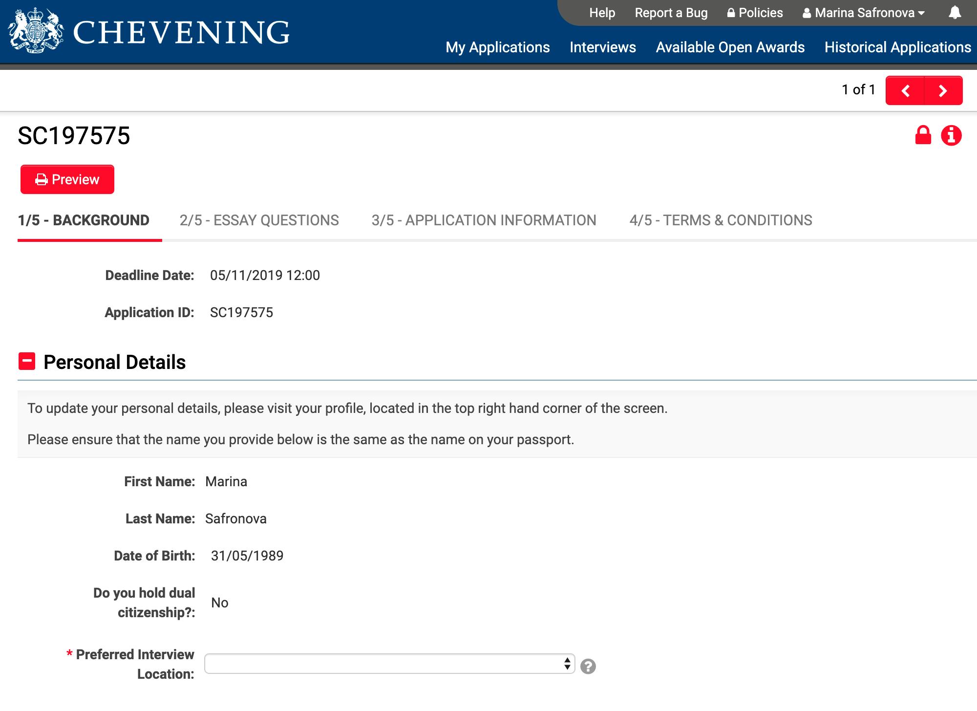 Так выглядит первая страница анкеты для«Чивнинга», где указываются паспортные данные, образование и опыт работы