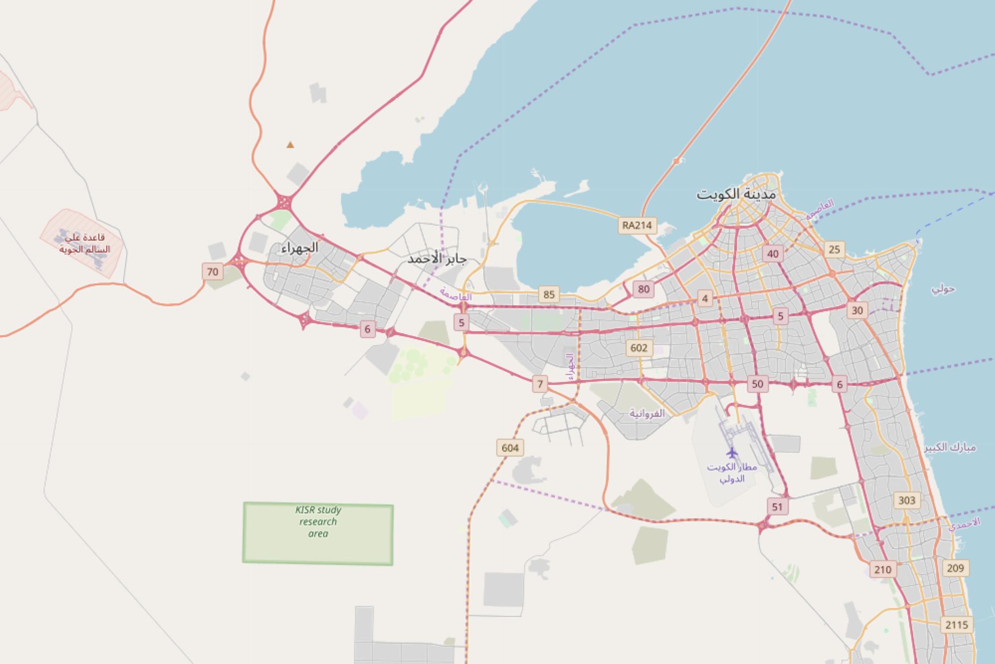 Карта автобусных маршрутов Кувейта