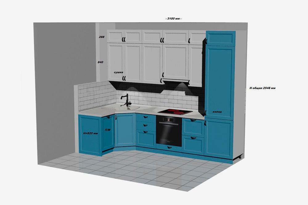 Так выглядел проект нашей кухни после первого посещения салона