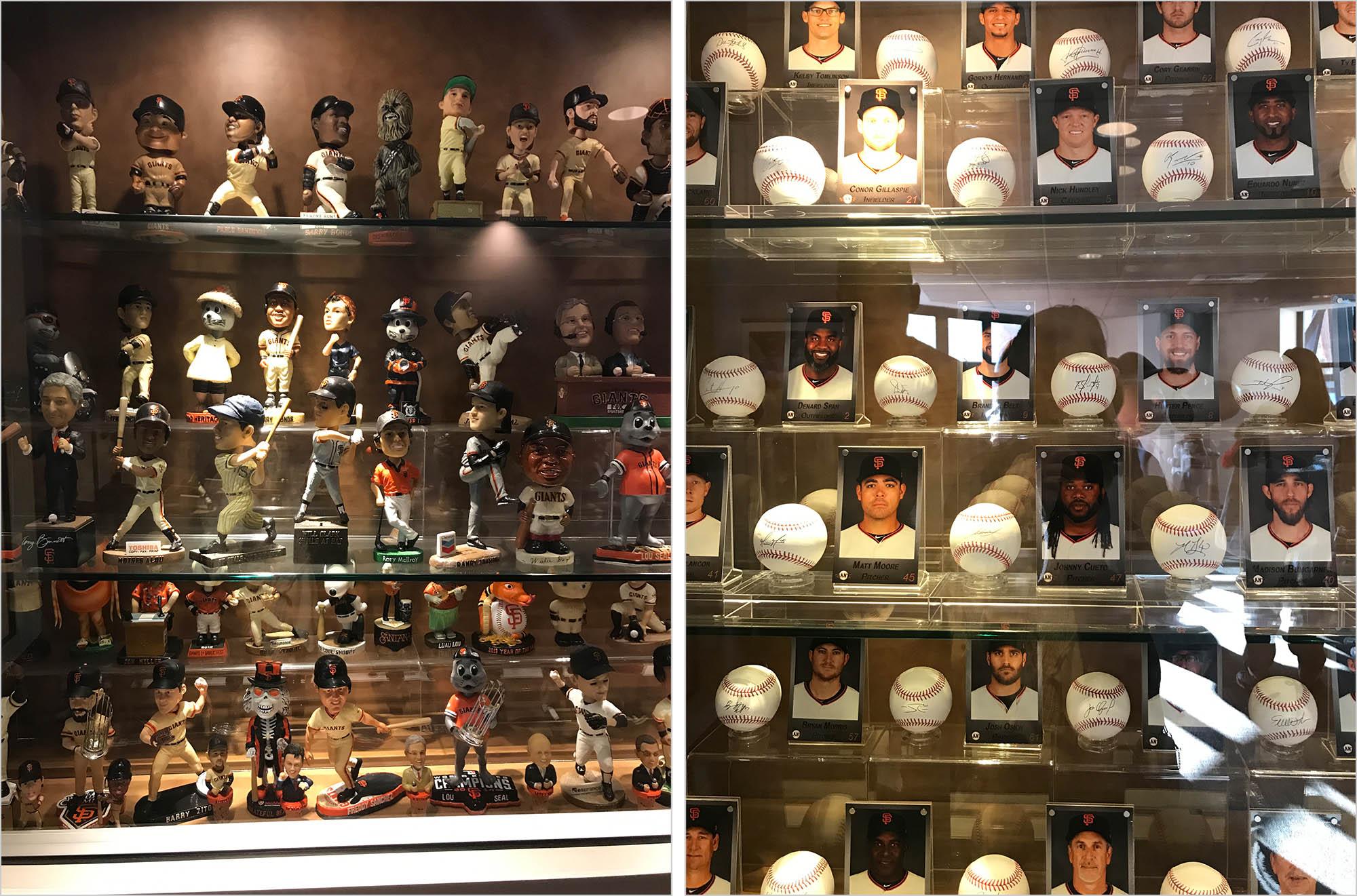 Фанаты покупают фигурки любимых бейсболистов, их портреты и бейсбольные мячи