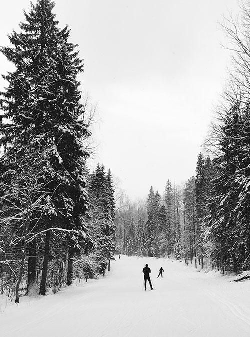 Зимой мы катаемся на лыжах на трассе «Фонтаны». Она расположена прямо в черте города