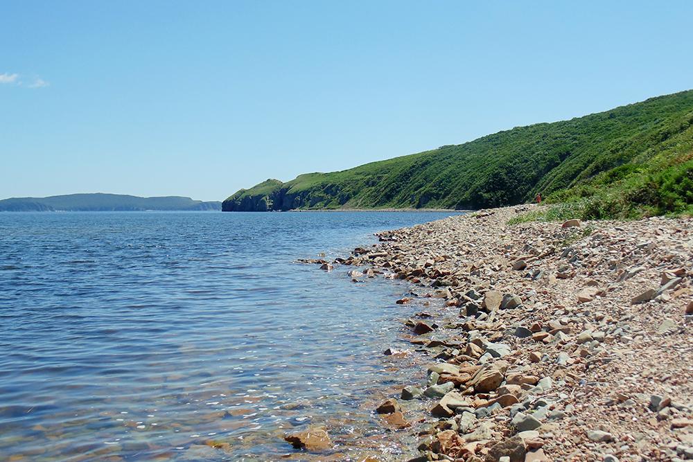 Остров Попова, вид на Проходной мыс. Если пойти в сторону мыса — придете к скалам, где можно понырять за мидиями. Морские ежи поймаются сами. В морском песке есть и другие ракушки — мы называем их песчанками. Их легко собирать и готовить