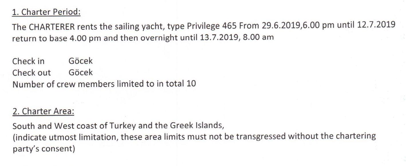 Арендодатель указывает в договоре территорию плавания — южное и западное побережье Турции и греческие острова. Формулировки расплывчаты, поэтому капитан должен как можно точнее установить эти границы. Например, нанести на карту