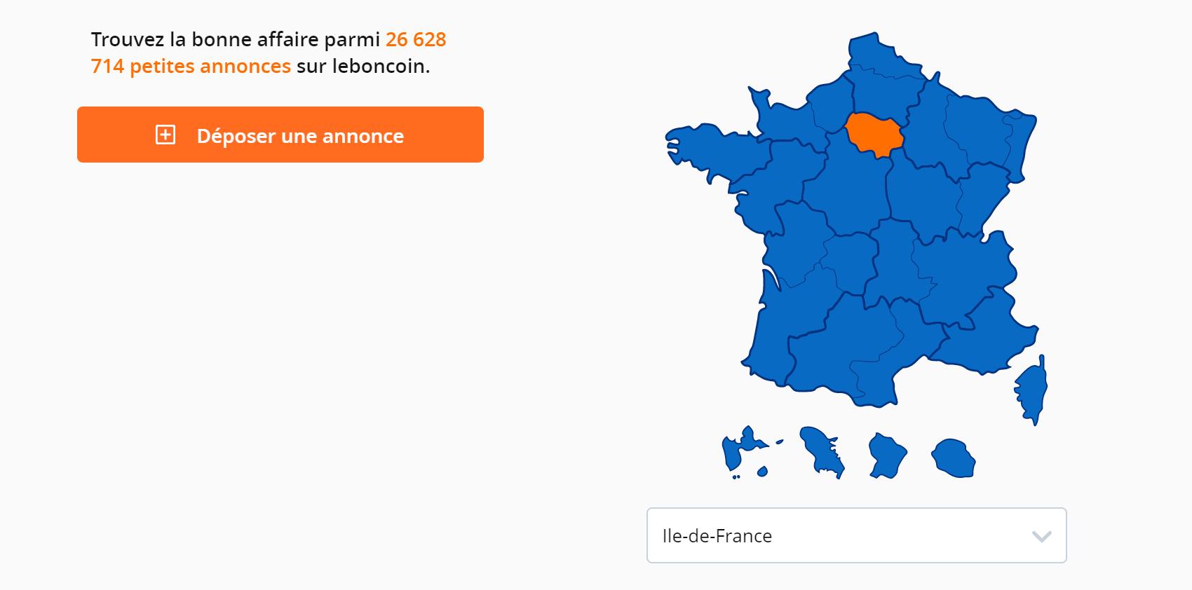 На сайте Leboncoin — «приятный уголок» — квартиру можно искать не только в Париже, но и во всех регионах Франции, в том числе в заморских департаментах — это островки внизу карты. Оранжевым отмечен столичный регион Иль-де-Франс